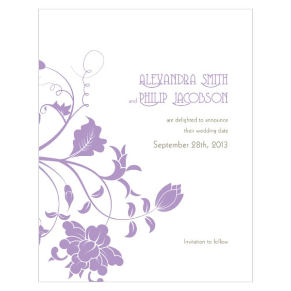 Floral Orchestra Save The Date Card Lavender