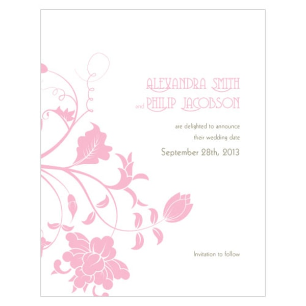 Floral Orchestra Save The Date Card Pastel Pink