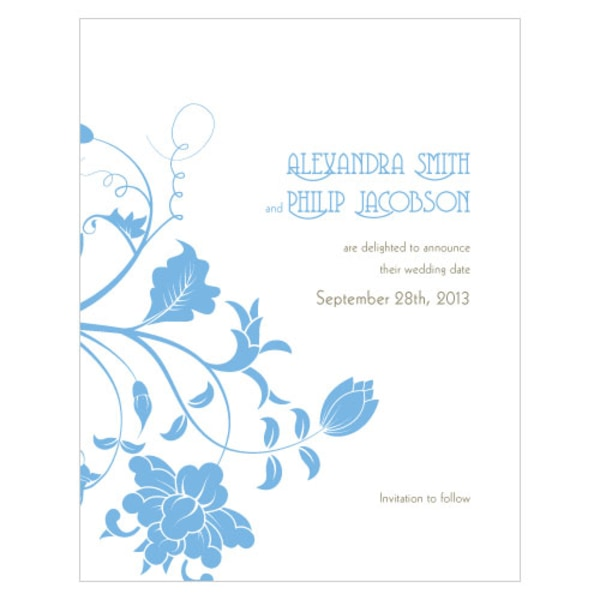 Floral Orchestra Save The Date Card Pastel Blue