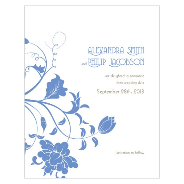 Floral Orchestra Save The Date Card Periwinkle