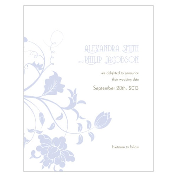Floral Orchestra Save The Date Card Lilac