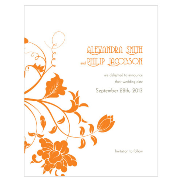Floral Orchestra Save The Date Card Tangerine Orange