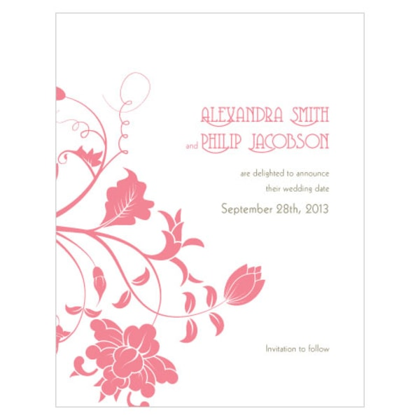 Floral Orchestra Save The Date Card Watermelon