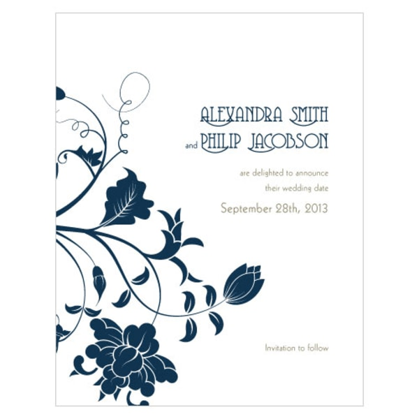 Floral Orchestra Save The Date Card Navy Blue