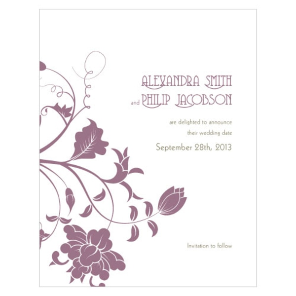 Floral Orchestra Save The Date Card Victorian Purple