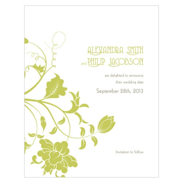 Floral Orchestra Save The Date Card Leaf Green