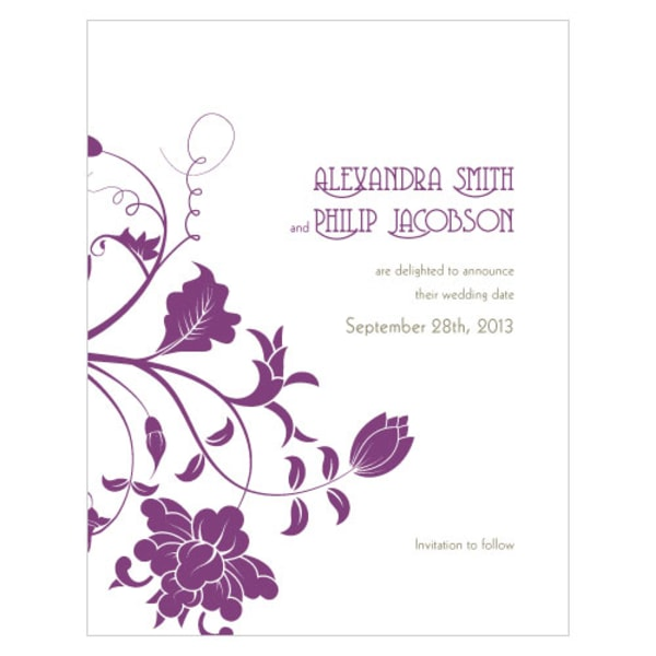 Floral Orchestra Save The Date Card Plum