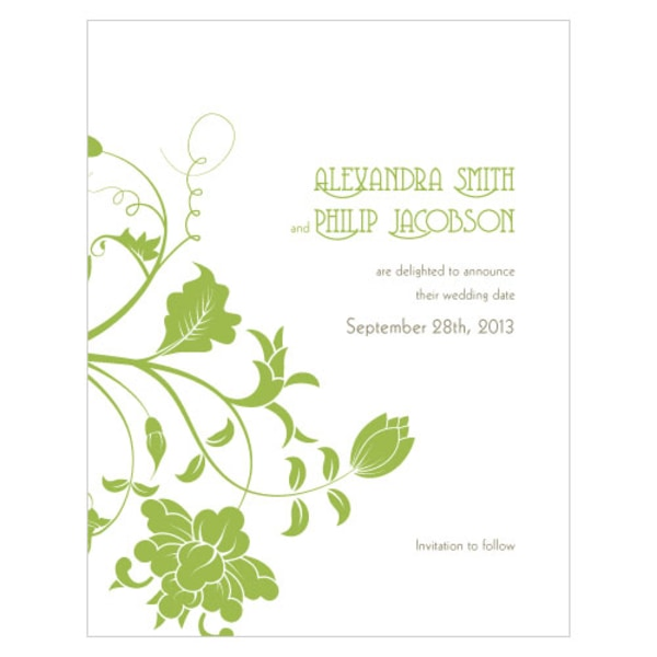 Floral Orchestra Save The Date Card Grass Green