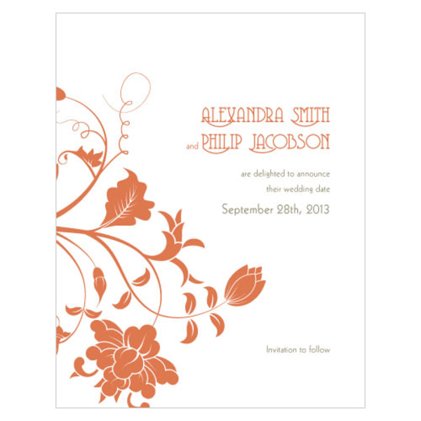 Floral Orchestra Save The Date Card Copper Orange