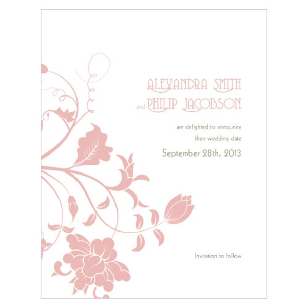 Floral Orchestra Save The Date Card Vintage Pink