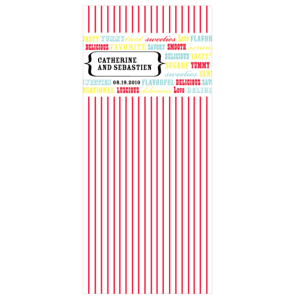 Personalized Cellophane Candy  Bag Insert Red
