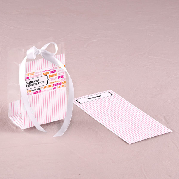 Personalized Cellophane Candy  Bag Insert Fuchsia