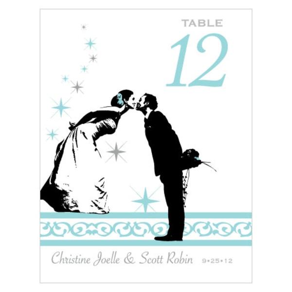 Vintage Hollywood Table Number Numbers 1-12 Sea Blue