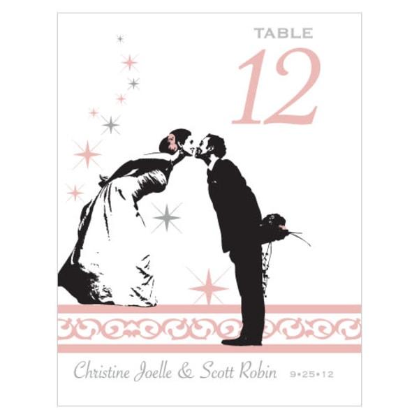 Vintage Hollywood Table Number Numbers 1-12 Vintage Pink
