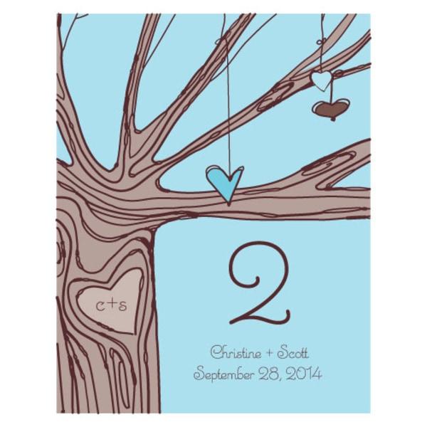 Heart Strings Table Number Numbers 13-24 Aqua Blue