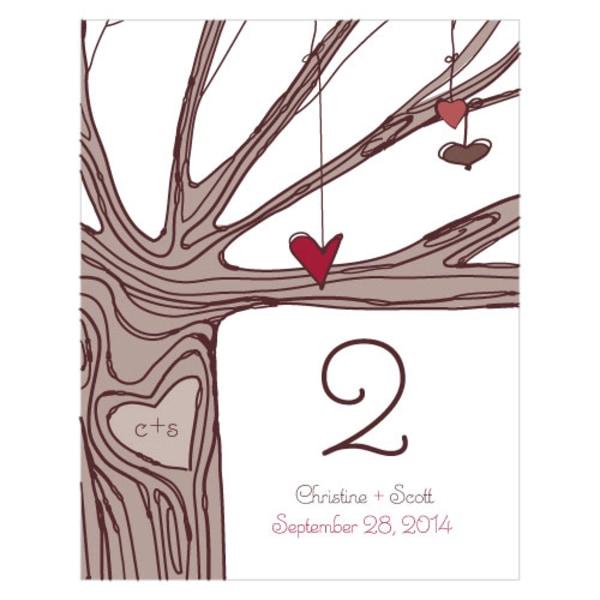 Heart Strings Table Number Numbers 1-12 Ruby