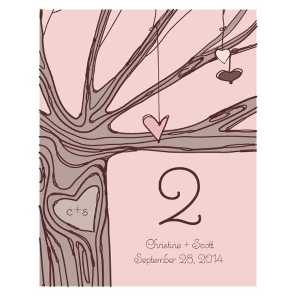 Heart Strings Table Number Numbers 1-12 Vintage Pink