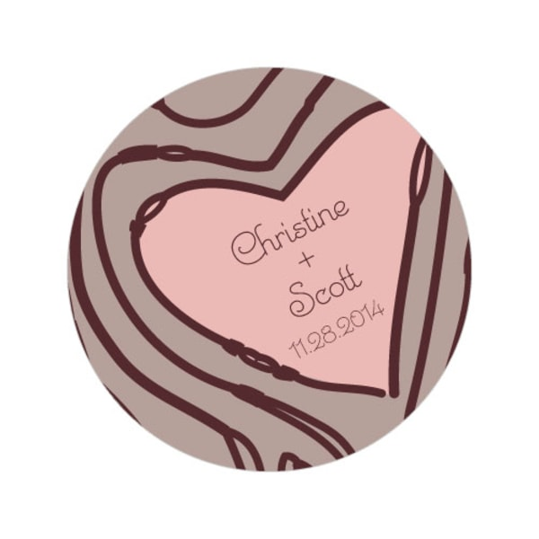 Heart Strings Large Sticker Vintage Pink