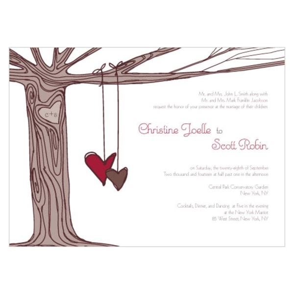 Heart Strings Invitation Ruby