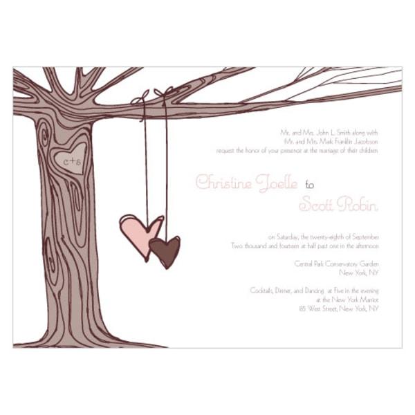 Heart Strings Invitation Vintage Pink