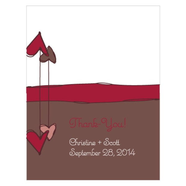 Heart Strings Place Card With Fold Ruby