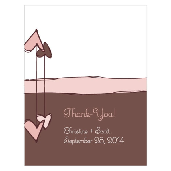 Heart Strings Place Card With Fold Vintage Pink