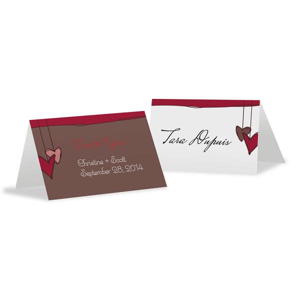 Heart Strings Place Card With Fold Aqua Blue