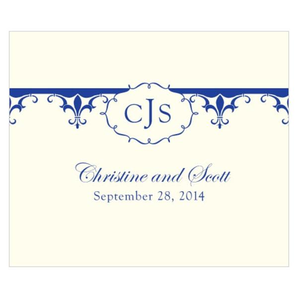 Fleur De Lis Rectangular Label Royal Blue