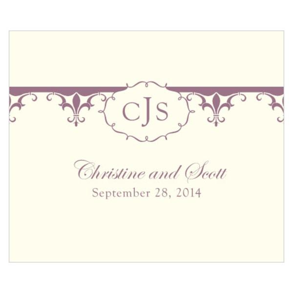 Fleur De Lis Rectangular Label Victorian Purple