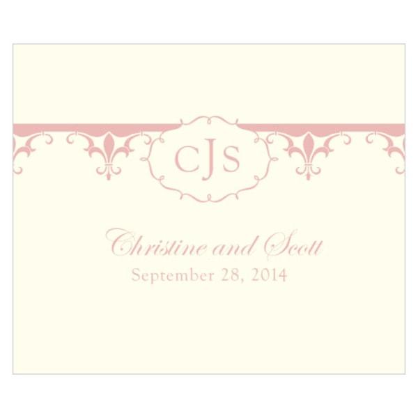 Fleur De Lis Rectangular Label Vintage Pink