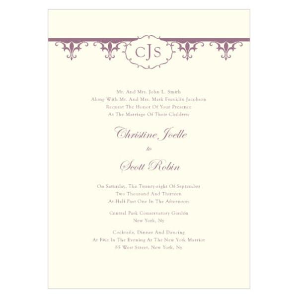 Fleur De Lis Invitation Victorian Purple