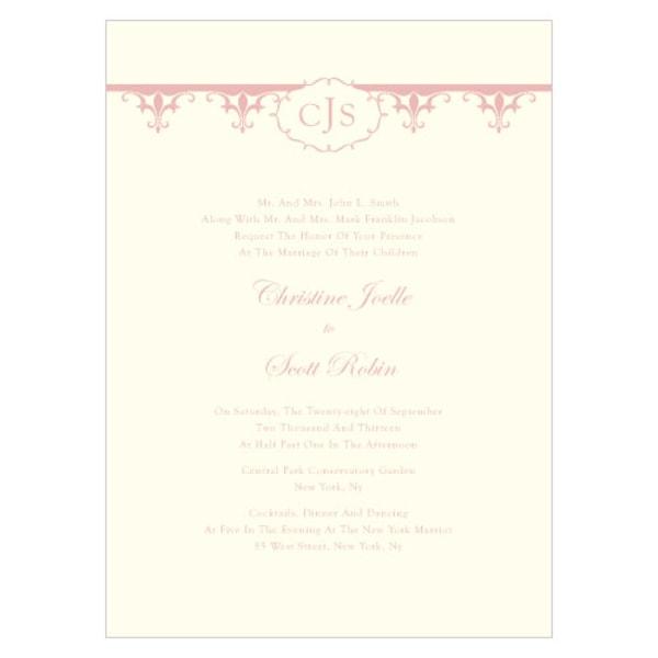 Fleur De Lis Invitation Vintage Pink