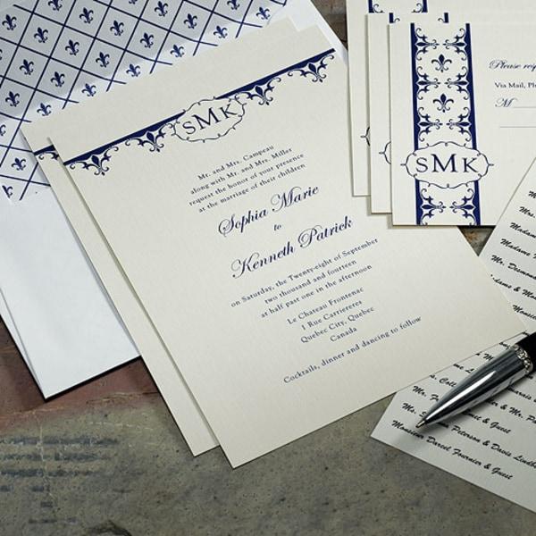 Fleur De Lis Invitation Royal Blue