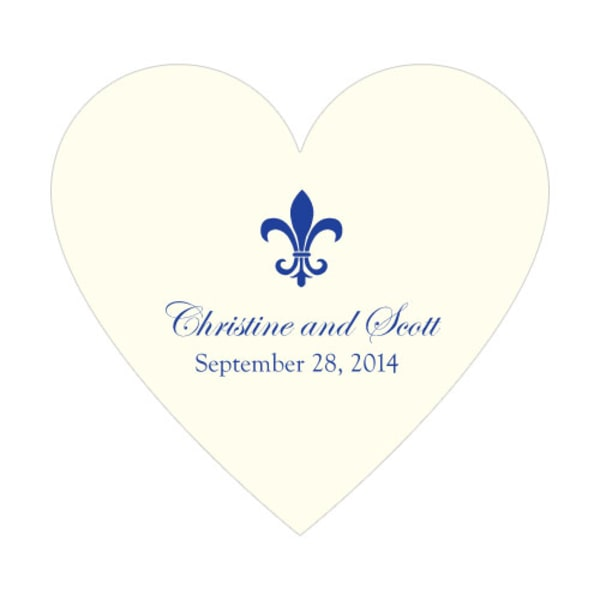 Fleur De Lis Heart Sticker Royal Blue