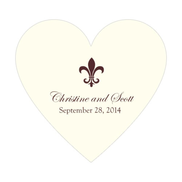 Fleur De Lis Heart Sticker Chocolate Brown