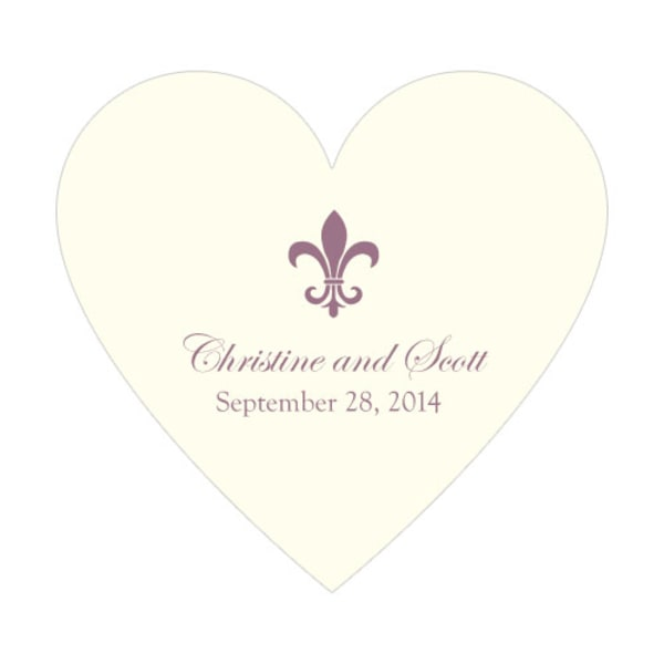 Fleur De Lis Heart Sticker Victorian Purple