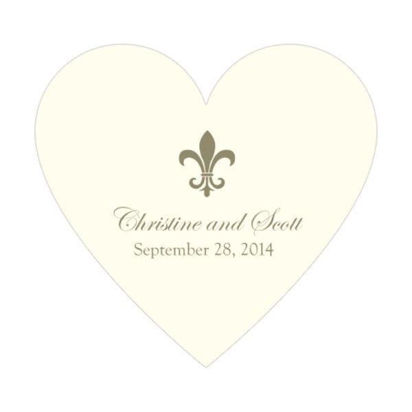 Fleur De Lis Heart Sticker Putty Grey