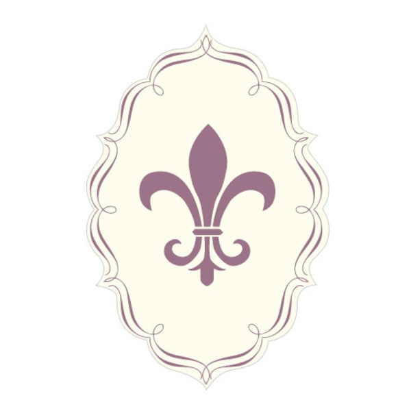 Fleur De Lis Diecut Sticker Victorian Purple