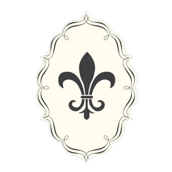 Fleur De Lis Diecut Sticker Charcoal