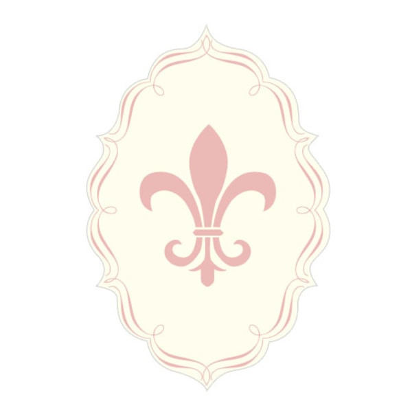 Fleur De Lis Diecut Sticker Vintage Pink