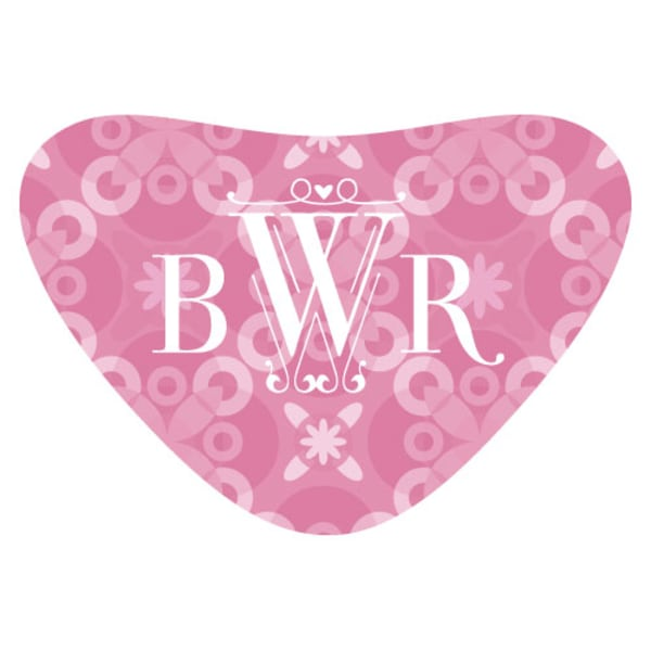 Floral Pattern Heart Container Sticker Dark Pink