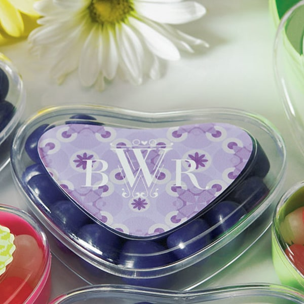 Floral Pattern Heart Container Sticker Lavender