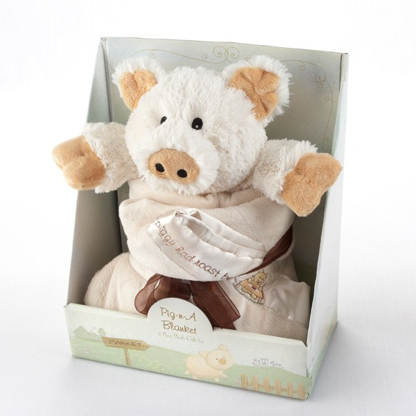 BA12002IV-Pig In A Blanket Two Piece Gift Set-Personalization available for an additional cost--