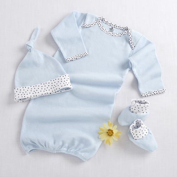BA16009BL-Welcome Home Baby! 3 Piece Layette Set In Keepsake Gift Box--Blue-