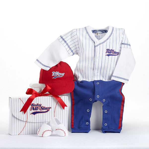 BA16010BL-Big Dreamzzz Baby Baseball 3 Piece Layette Set In All Star Gift Box-Personalization is available at an additional cost-
