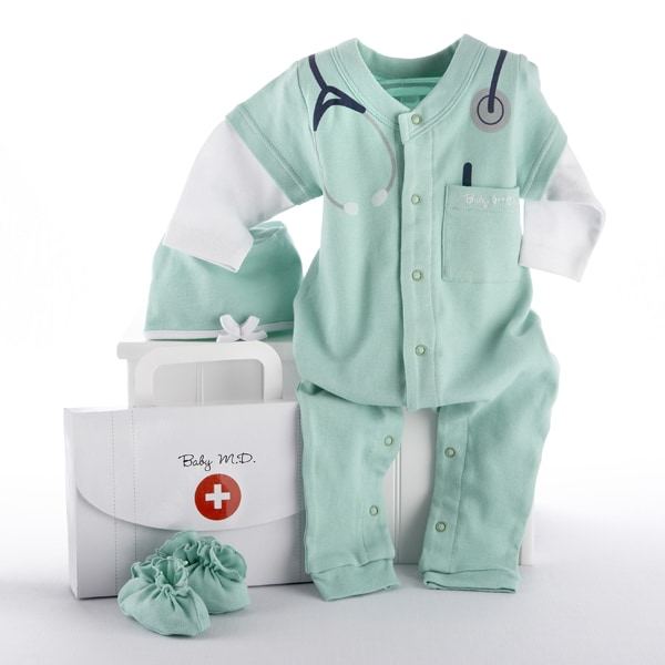 BA16010GN-Big Dreamzzz Baby M.D. 3 Piece Layette Set In Doctor'S Bag Gift Box--