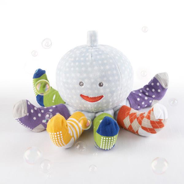 BA15004BL-Mr. Sock T. Pus Plush Plus Octopus With 4 Pairs Of Socks--Blue-