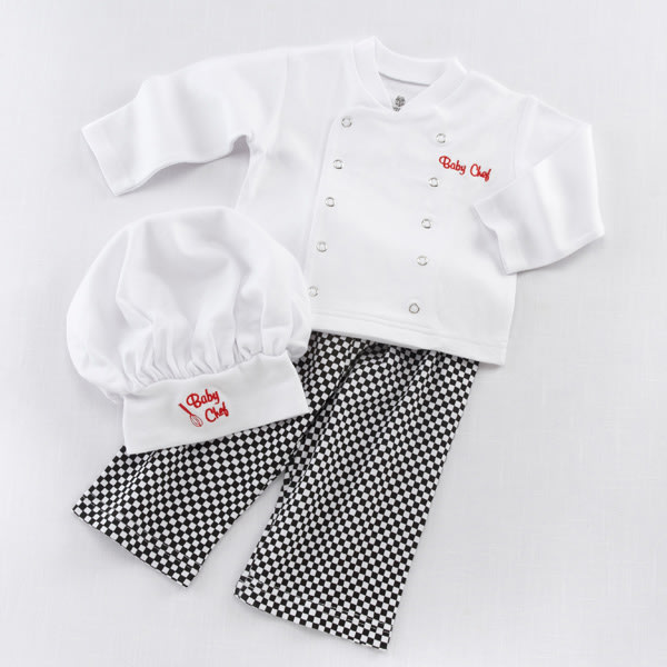 BA16010WT-Big Dreamzzz Baby Chef 3 Piece Layette Gift Set-personalization--for example if your babys name is  Mary Jane Taylor, mTj First Name Initial, Last Name Initial and Middle Name Initial will be embroidered on the coat.     Made of machine-washable, 100% cotton Black-and-white culinary-themed gift box with checkered bottom and rich, red satin bow at the top; inside of gift box is white with red theme accents that include spatulas, pans, rolling pins and oven mitts Size 0-6 months Click here to view the Big Dreamzzz Baby Chef POP Display-