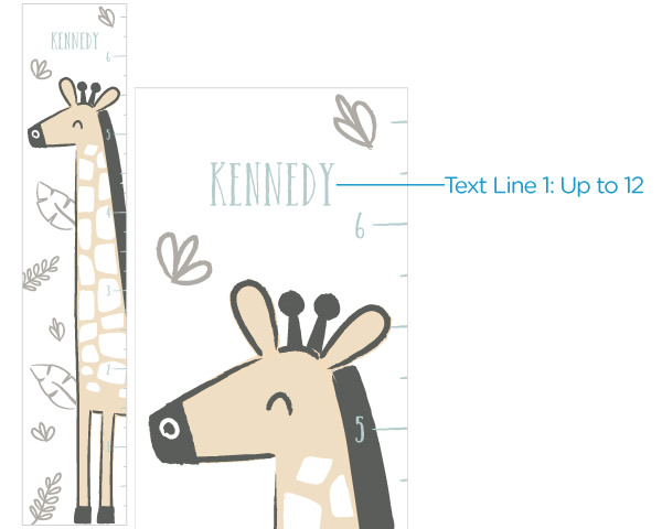 40237NA-Safari Giraffe Growth Chart-Personalized Safari Giraffe Growth Chart helps you keep up with all of the action and memories. Perfect for a safari-themed nursery, this is a great gift that parents can use from toddler to teen. Add babys name to the growth chart for a keepsake theyll treasure for years to come.  Features and facts:Safari-themed growth chart features giraffe and leaf designName personalization is horizontally aligned above giraffe; includes up to 12 characters Growth Chart measures up to 6 5Instructions included for hanging/displaying growth chart--