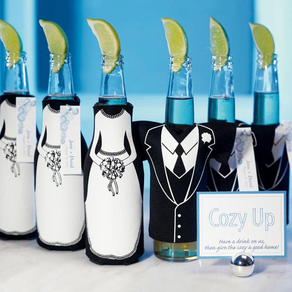 Bride or Groom Koozie Bottle Holder Favour Wedding Tux T-Shirt Shaped